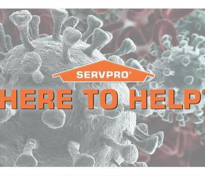 SERVPRO logo with the Words Here to help